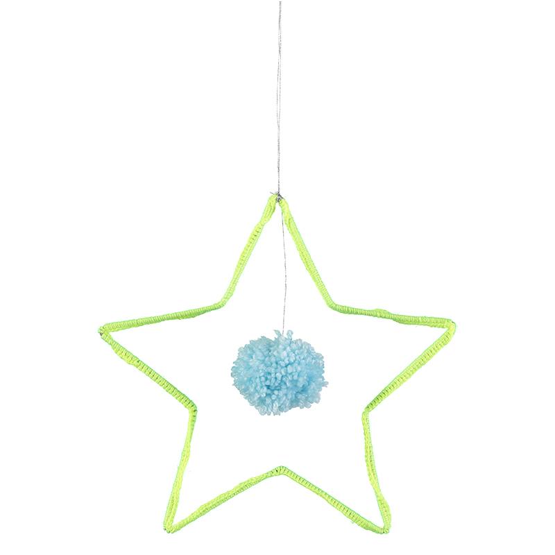 Suspensions-deco-mobile-étoile-jaune-fluo-chmabre-enfant-paris-15-merimeri